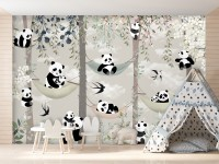 Panda Bear on Hammock Wallpaper Mural