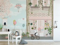 Panda Bear with Balloons  in front of Floral Garden Home Kids Wallpaper Mural