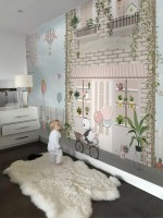 Panda Bear with Balloons  in front of Floral Garden Home Wallpaper Mural
