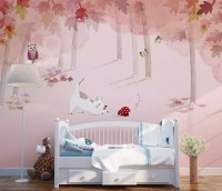 Pink Forest with Cats and Owl Wallpaper Mural