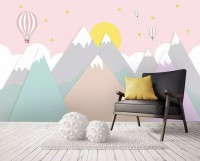 Pink Mountainscape and Hot Air Balloon Wallpaper Mural