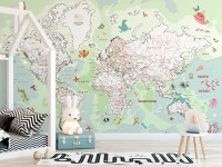 Pink Political World Map with Animals Wallpaper Mural