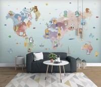Pink Purple World Map with Animals Wallpaper Mural