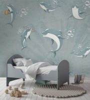 Playing Dolphin Wallpaper Mural