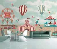 Red Circus with Hot Air Balloon Wallpaper Mural