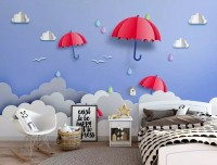 Red Umbrella in the Cartoon Sky Wallpaper Mural