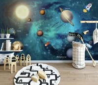 Solar System Planets and Sun Wallpaper Mural