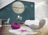 Swinging Cat with Shining Moon Wallpaper Mural