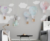 Teddy Bear with Child Map Wallpaper Mural