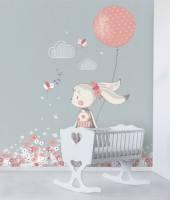 The Rabbit Girl with Pink Balloon and Little Flowers Wallpaper Mural