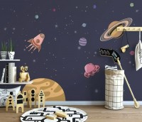 Watercolor Cartoon Space with Planets Wallpaper Mural