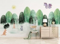 Watercolor Cartoon Trees and Animals Wallpaper Mural