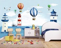 Watercolor Lighthouse with Hot Air Balloons Wallpaper Mural