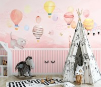 Watercolor Pink Sky with Cute Cat and Hot Air Balloon Wallpaper Mural