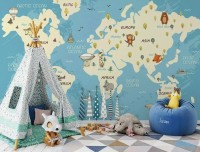 World Map with Animals Wallpaper Mural