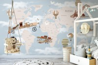 World Map with Hot Air Balloons and Helicopters Wallpaper Mural