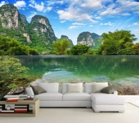 3D Look Green Lake Landscape with Mountains Wallpaper Mural