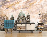 Oil Painting Berlin Cathedral Landscape with Man and Woman Wallpaper Mural