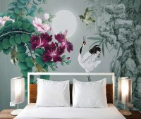 White Stork and Purple Flowers Wallpaper Mural