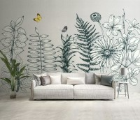 Charcoal Leaf and Flower Wallpaper Mural