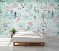Drawing Leaves Wallpaper Mural