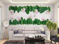 Green Leaf and Cherry Blossom Wallpaper Mural