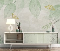 Leaf Veins with Little Forest Pattern Wallpaper Mural