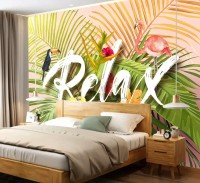 Pink Flamingo with Colorful Tropical Leaves Wallpaper Mural