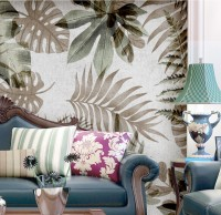 Vintage Banana and Palm Leaves Wallpaper Mural