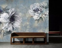 Light Floral with Music Notes Wallpaper Mural