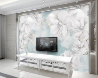 Jewelry White Lux Floral Wallpaper Mural