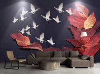 Maple Leaf with White Butterflies Wallpaper Mural