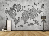 Monochrome World Map Wallpaper Mural
