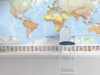 Political World Map and Country Flags Wallpaper Mural