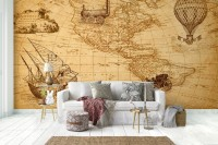 Vintage Political Map with Old Hot Air Balloon Wallpaper Mural