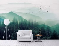 Misty Green Forest with Birds Wallpaper Mural