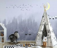 Monochrome Night Forest and Birds Wallpaper Mural