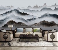 Misty Mountain Landscape Natural Style Wallpaper Mural