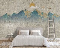 Mountain Sunrise Landscape and Old Plaid Texture Wallpaper Mural