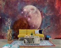 Red Space with Fullmoon and Red Tree Wallpaper Mural