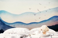 Watercolor Mountain Landscape Wallpaper Mural