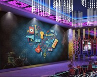 Colorful Music Instruments Wallpaper Mural