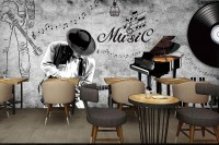 Dark Music Notes with Piano Wallpaper Mural