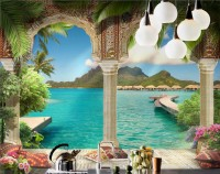 3D Look Sea Landscape with Lux Arabian Arches Wallpaper Mural