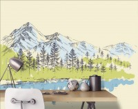 Charcoal Mountain Landscape with Lake and Pine Trees Wallpaper Mural