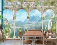Lake Landscape on the Swan with European Style White Arches Wallpaper Mural