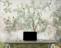 Misty Lake Landscape and Japanese Garden Wallpaper Mural