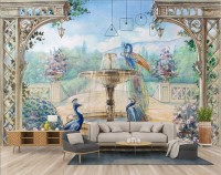 Painting Garden with Fountain, Peacock and Roman Column Wallpaper Mural
