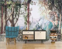 Soft Drawing Village with Roman Columns Wallpaper Mural