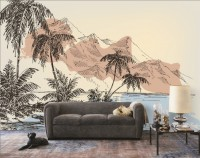 Vintage Charcoal Tropical Palm Tree and Summer Beach Wallpaper Mural